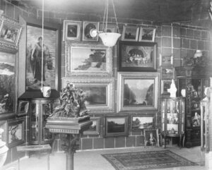 black and white museum interior